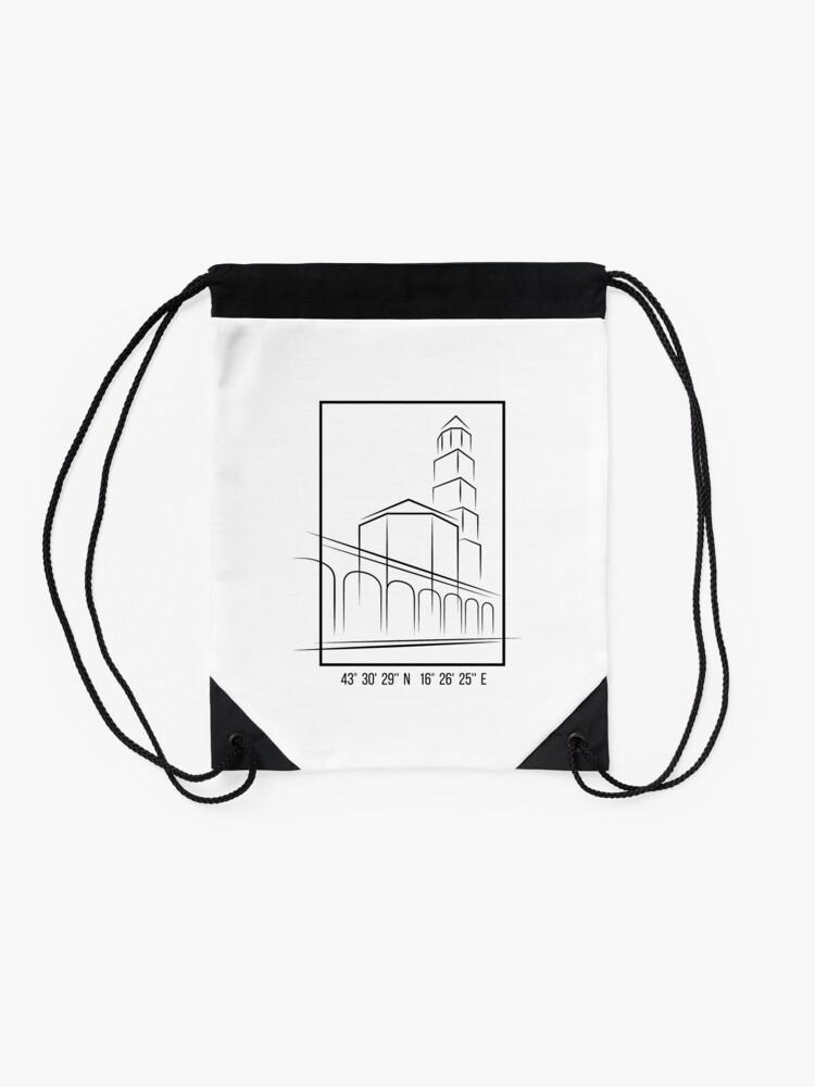 Alternate view of SIMPLE CITY DRAWING | SPLIT, CROATIA Drawstring Bag