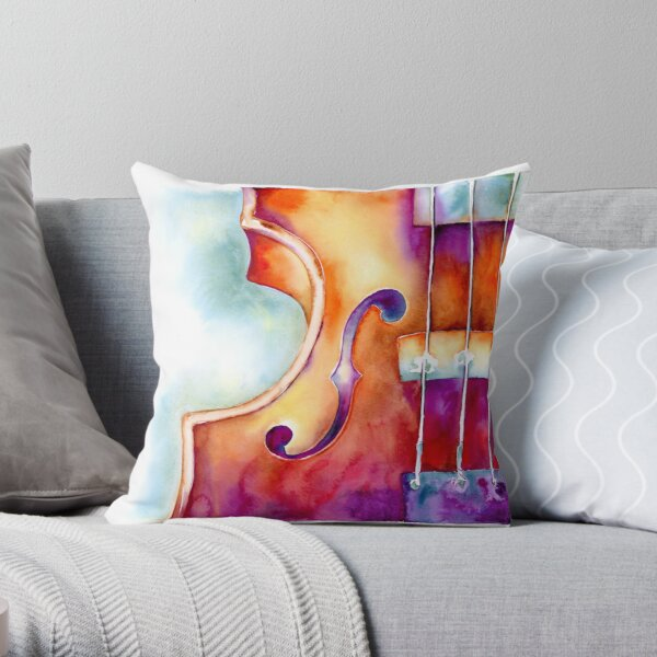 Colorful Violin Throw Pillow