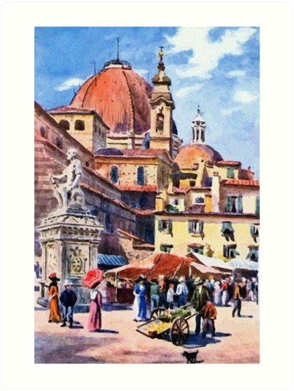 Market day at Piazza San Lorenzo Florence Firenze Italy by aapshop
