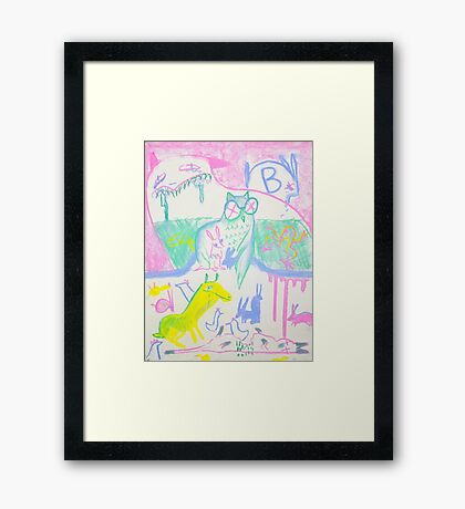 Pastel Roadkill Party with Owl and friends!  THE AFTERPARTY Framed Print