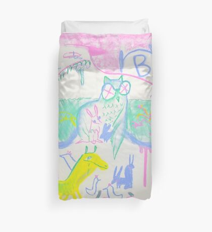 Pastel Roadkill Party with Owl and friends!  THE AFTERPARTY Duvet Cover