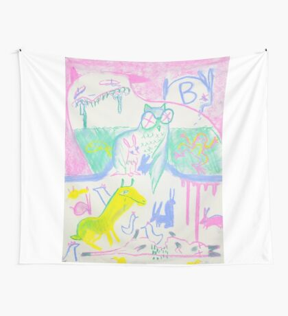 Pastel Roadkill Party with Owl and friends!  THE AFTERPARTY Wall Tapestry