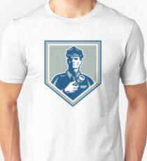 Security Guard Flashlight Shield Retro T-Shirt