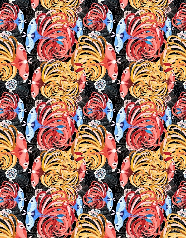Tropical floral pattern with butterflies by Tanor