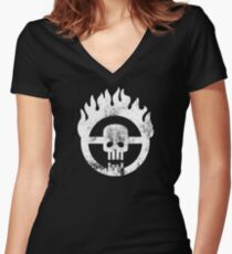 Mad Max Skull Women's Fitted V-Neck T-Shirt