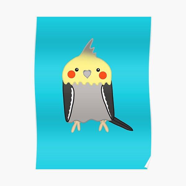 Cute grey yellow cockatiel bird Poster