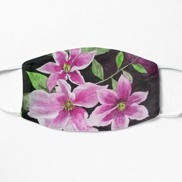 Purple pink clematis flowers watercolor painting against a dark background  Mask