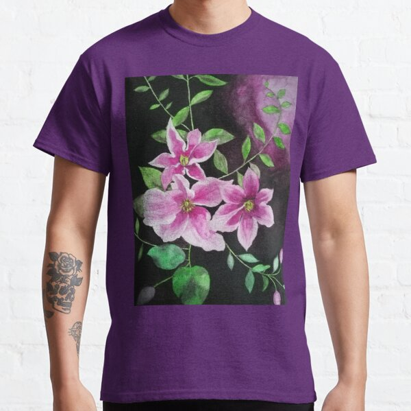 Purple pink clematis flowers watercolor painting against a dark background  Classic T-Shirt