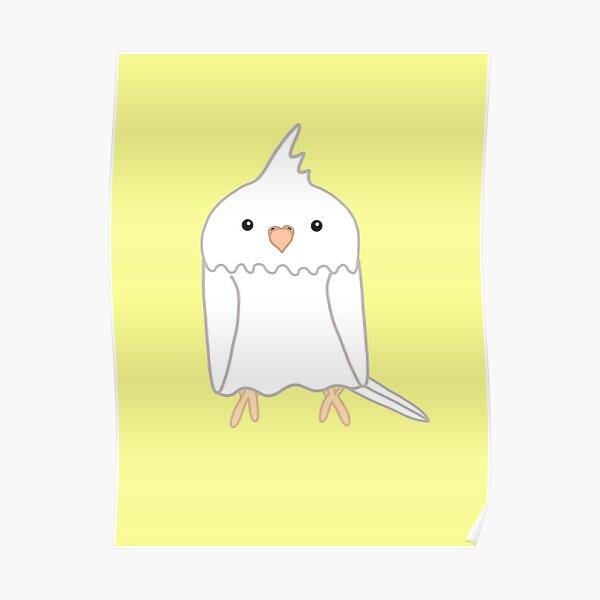Cute white cockatiel bird Poster