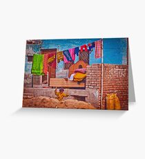 Colorful scene from indian street life Greeting Card