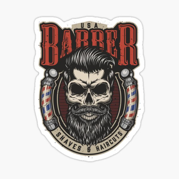 Barbershop Hair-dressed skull - Shaves and Haircuts - Hairdresser Sticker