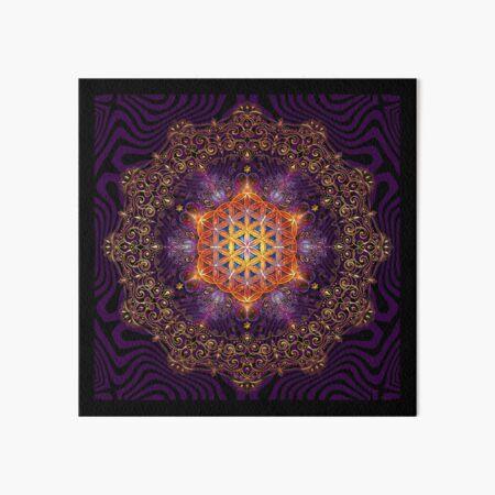 Flower of Life Golden Lace Mandala Art Board Print