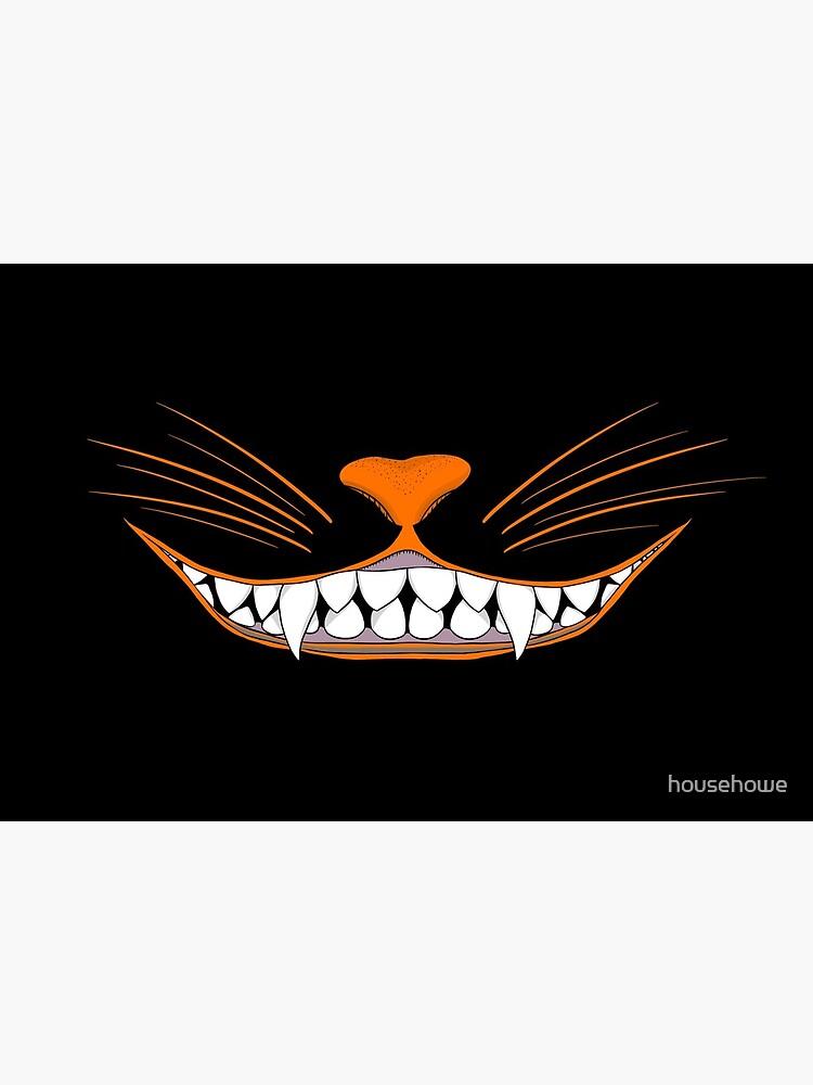 Vintage Halloween Black Cat Grin Mask by househowe