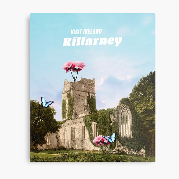 Killarney, Ireland Travel Poster - Vintage Inspired Surrealist Collage Metal Print