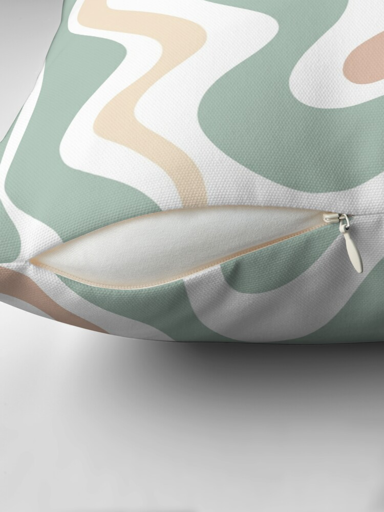 Alternate view of Liquid Swirl Retro Abstract in Light Sage Celadon Green, Light Blush, Cream, and White Throw Pillow