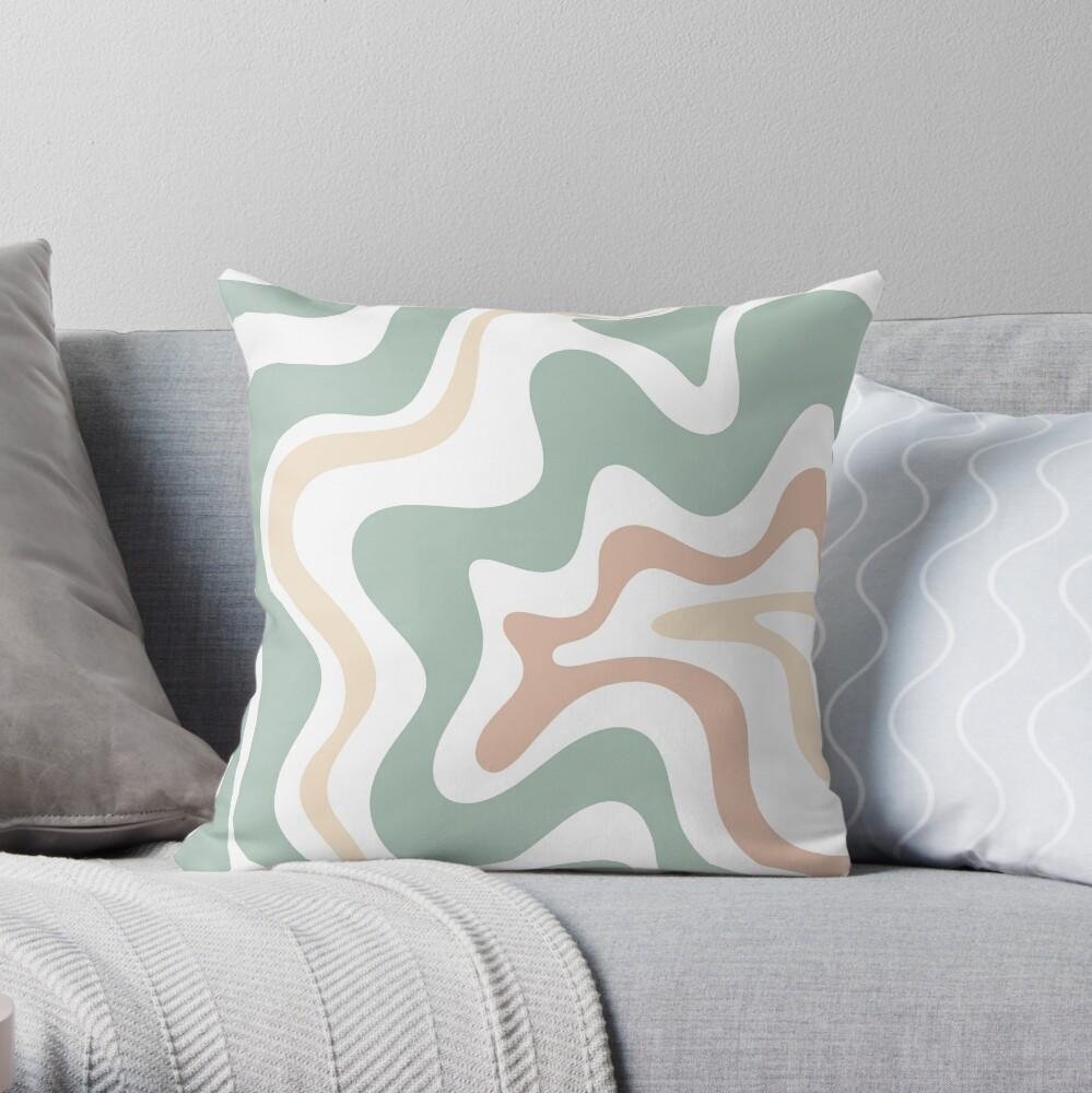 Liquid Swirl Retro Abstract in Light Sage Celadon Green, Light Blush, Cream, and White Throw Pillow