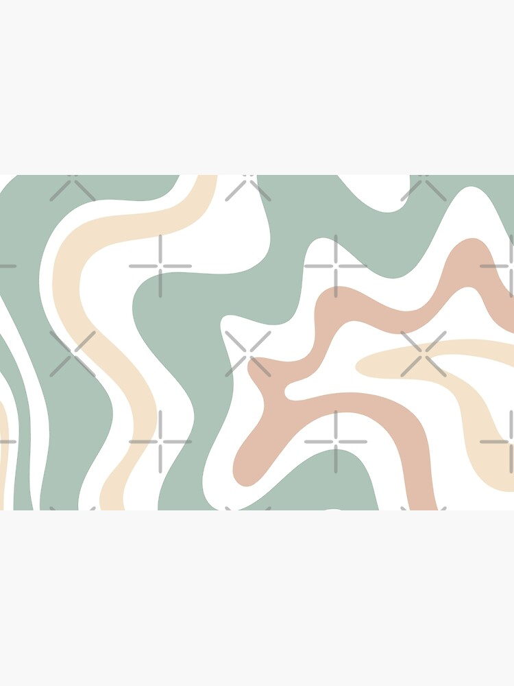 Liquid Swirl Retro Abstract in Light Sage Celadon Green, Light Blush, Cream, and White by kierkegaard