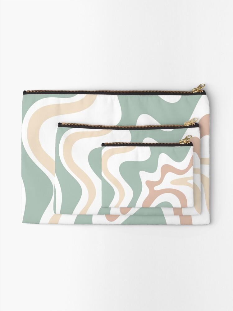 Alternate view of Liquid Swirl Retro Abstract in Light Sage Celadon Green, Light Blush, Cream, and White Zipper Pouch