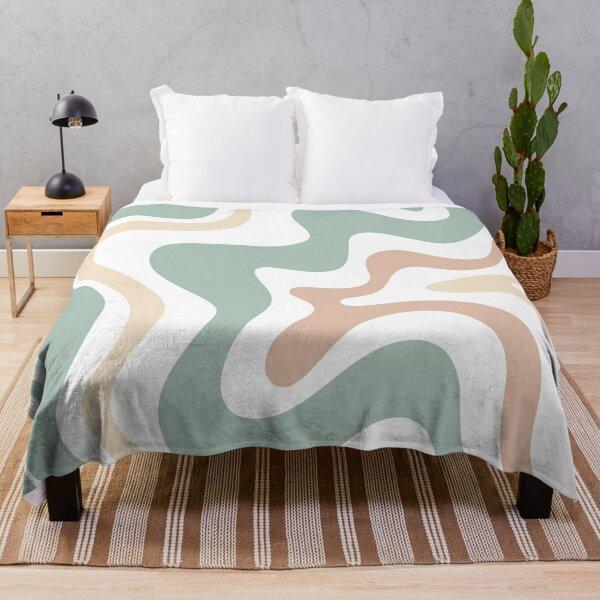 Liquid Swirl Retro Abstract in Light Sage Celadon Green, Light Blush, Cream, and White Throw Blanket