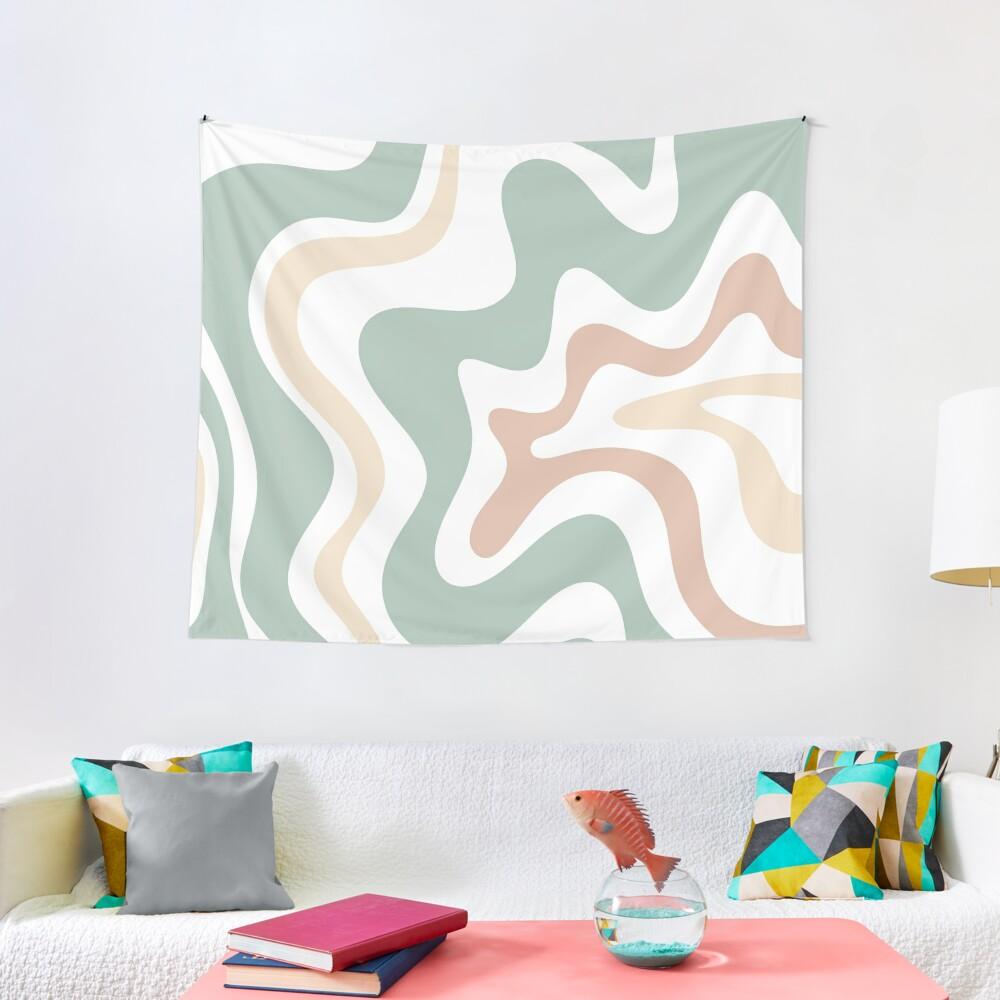 Liquid Swirl Retro Abstract in Light Sage Celadon Green, Light Blush, Cream, and White Tapestry