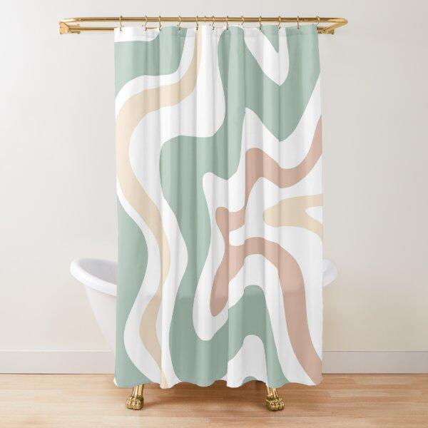 Liquid Swirl Retro Abstract in Light Sage Celadon Green, Light Blush, Cream, and White Shower Curtain