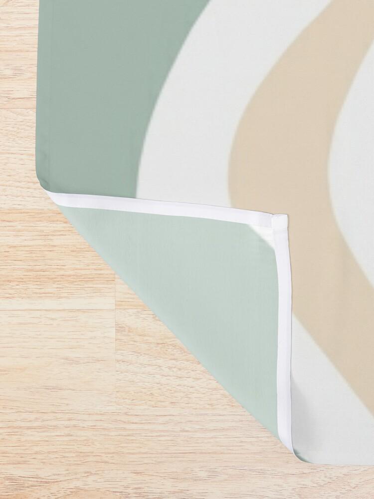 Alternate view of Liquid Swirl Retro Abstract in Light Sage Celadon Green, Light Blush, Cream, and White Shower Curtain