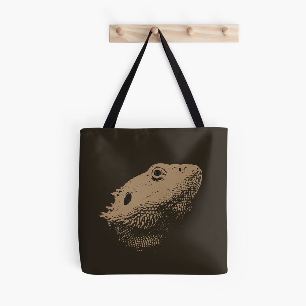 Bearded Dragon Head In Beige Tote Bag