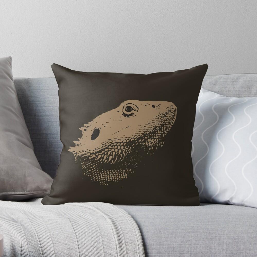Bearded Dragon Head In Beige Throw Pillow