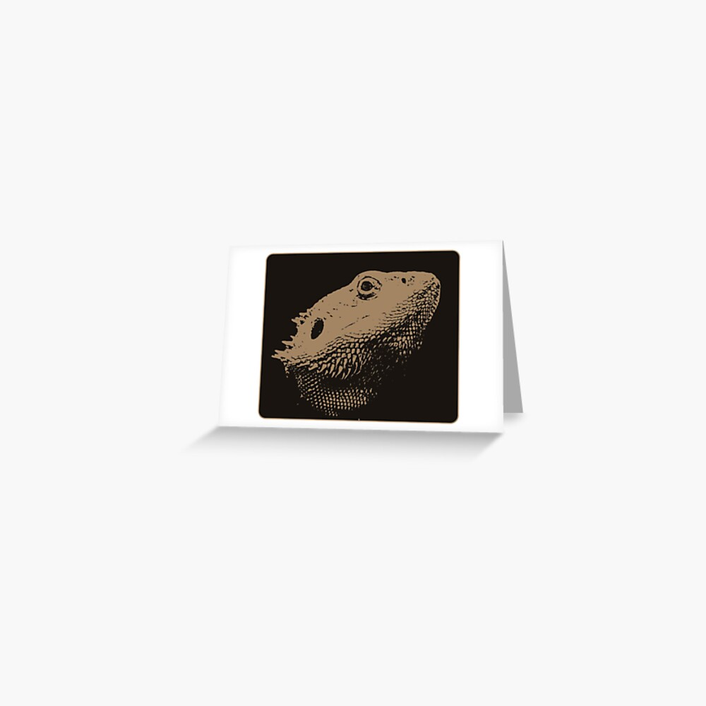 Bearded Dragon Head In Beige Greeting Card