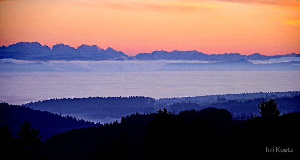 The Suisse Alps and the French Alps seen from the Black Forest near our home by Imi Koetz
