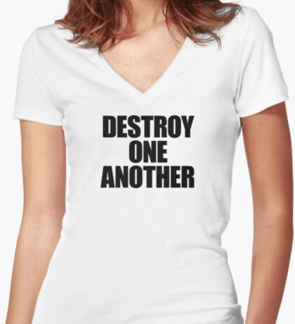 They Live - Destroy One Another Women's Fitted V-Neck T-Shirt