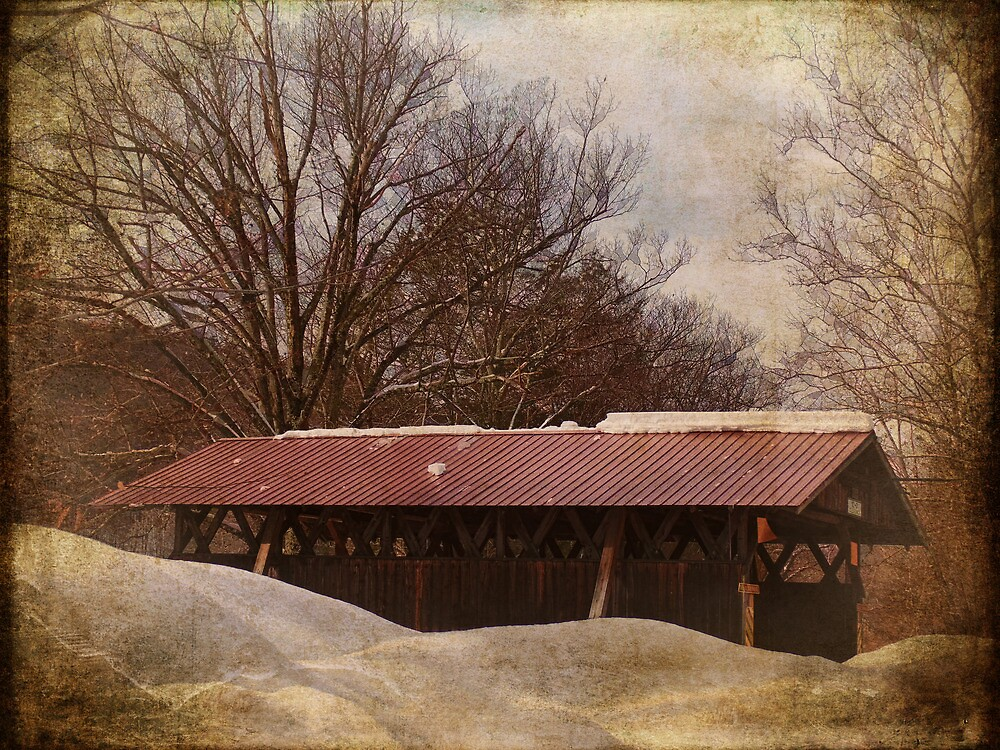 Winter Covered Bridge by PineSinger