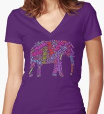 Vegan Elephant Women's Fitted V-Neck T-Shirt