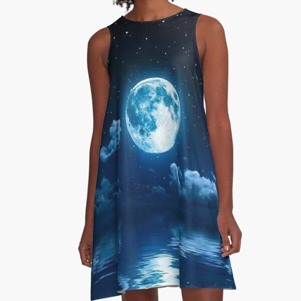 Full Moon Reflection  A-Line Dress