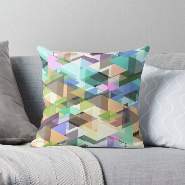Abstract diamond glass pattern light colored Throw Pillow