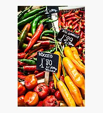 Red and green peppers hung Photographic Print