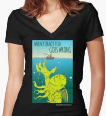 When Attract Fish Goes Wrong (4) Women's Fitted V-Neck T-Shirt
