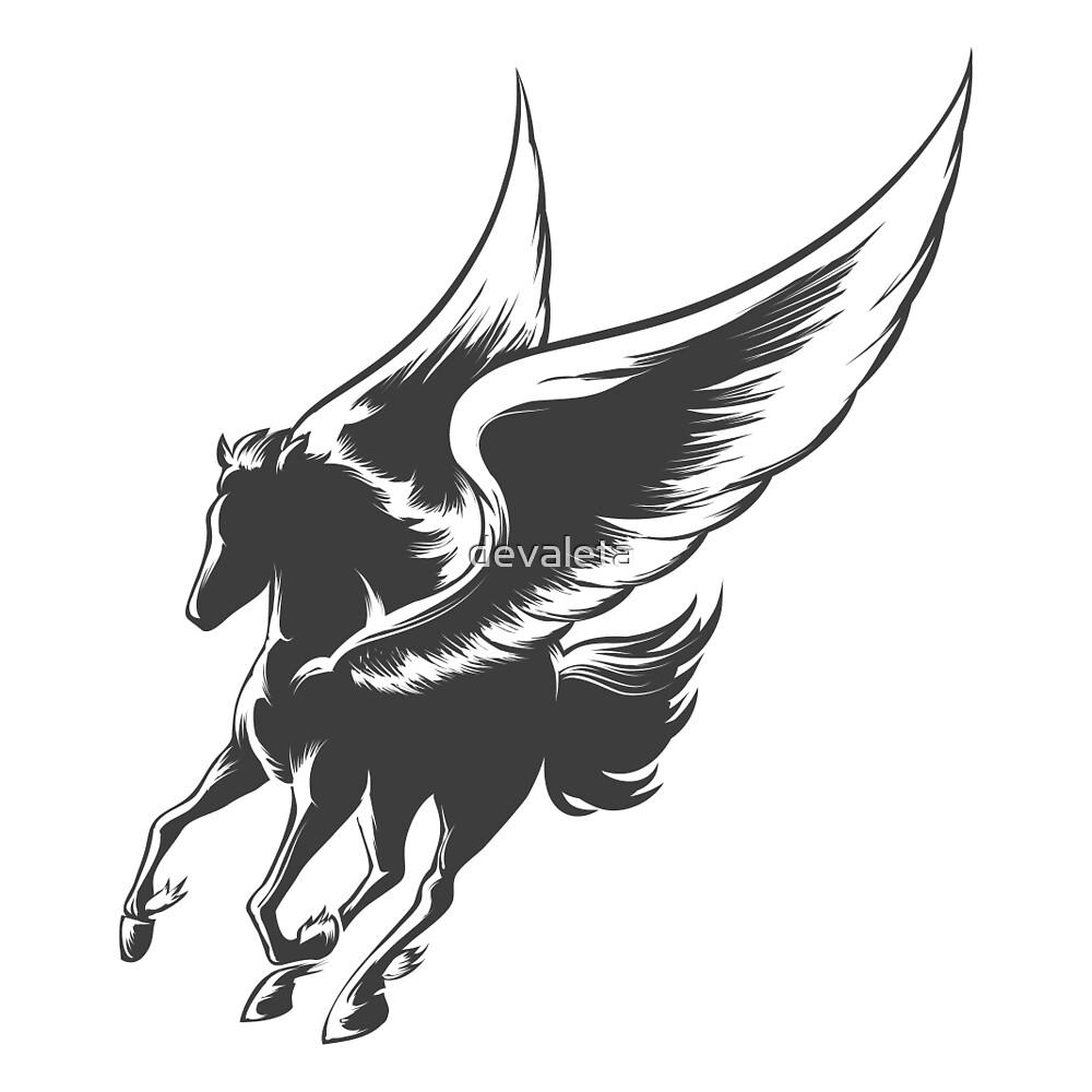 Engraving Winged Horse by devaleta