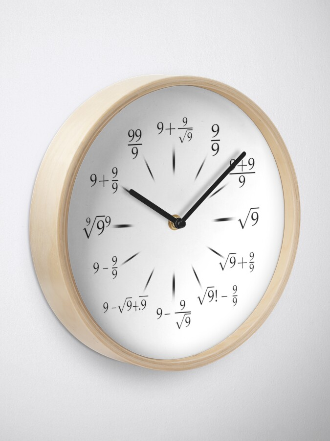 Alternate view of Nerdy Math Clock with all Nines Clock