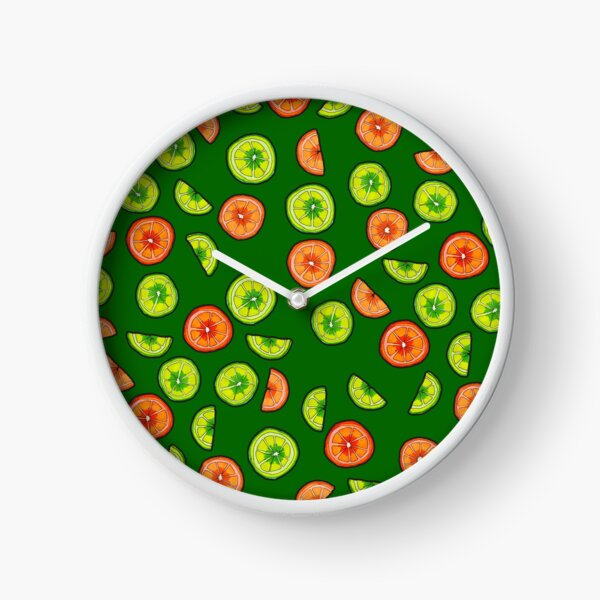 Oranges and Limes on Dark Green Clock