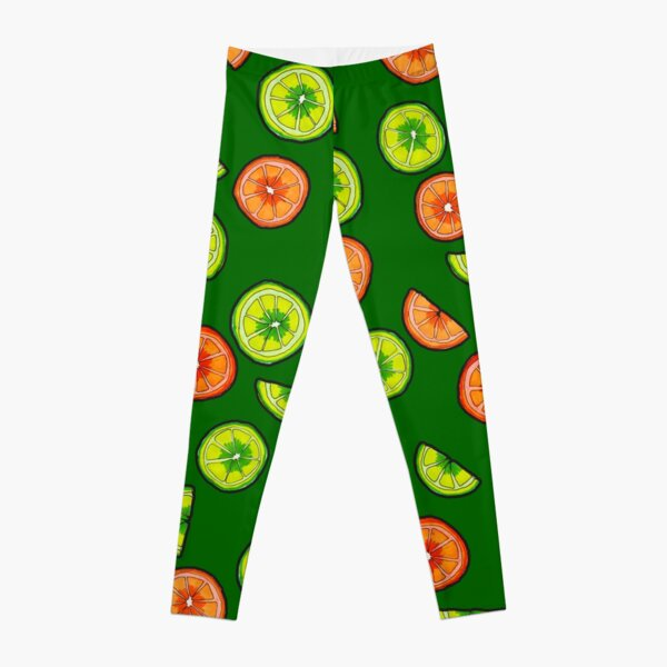 Oranges and Limes on Dark Green Leggings