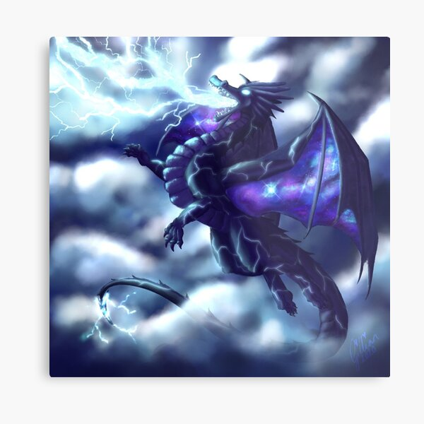 Lightning Dragon with Galaxy Wings Metal Print