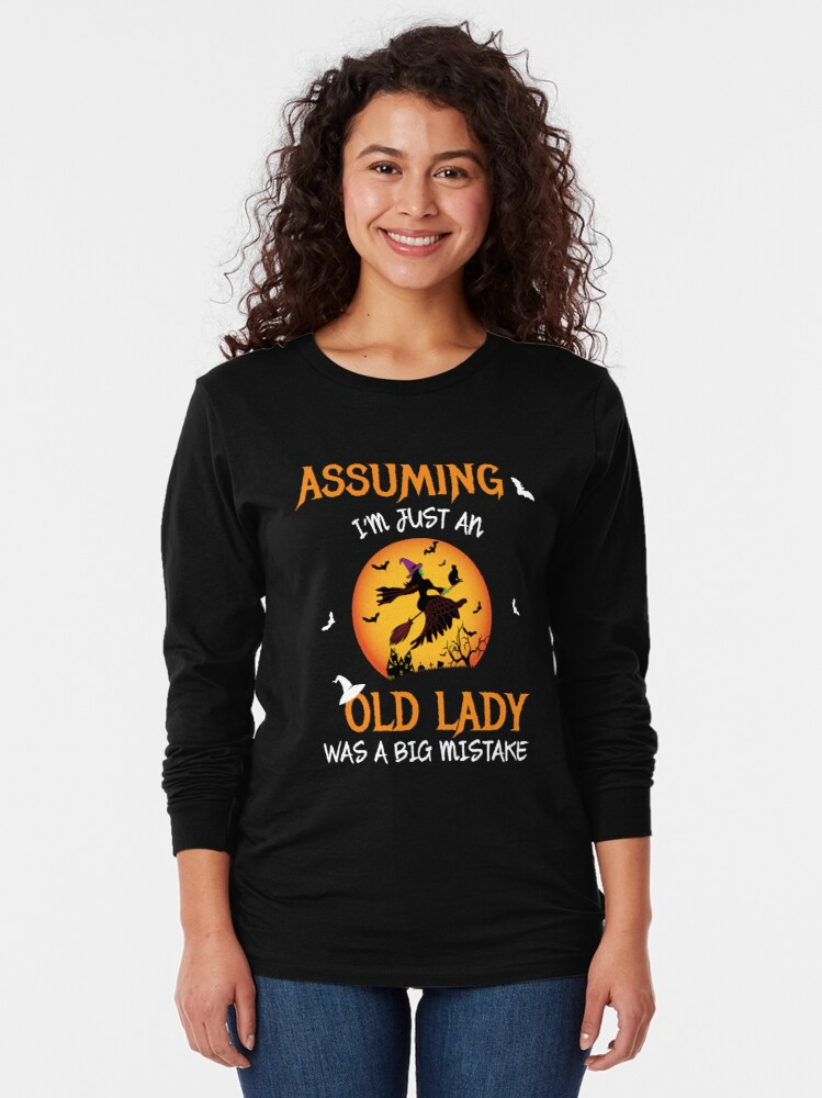 Alternate view of Old Lady Witch Broomstick Black Cat Bats Spider. Long Sleeve T-Shirt