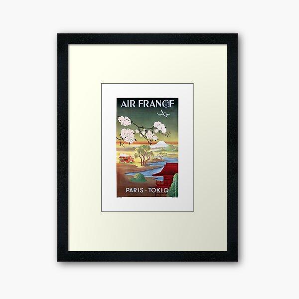 1952 AIR FRANCE Paris Tokyo Travel Poster Framed Art Print