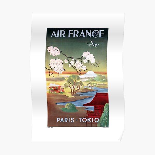 1952 Affiche de voyage AIR FRANCE Paris Tokyo Poster