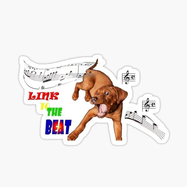 Enlace al ritmo, perro bailarín Pegatina