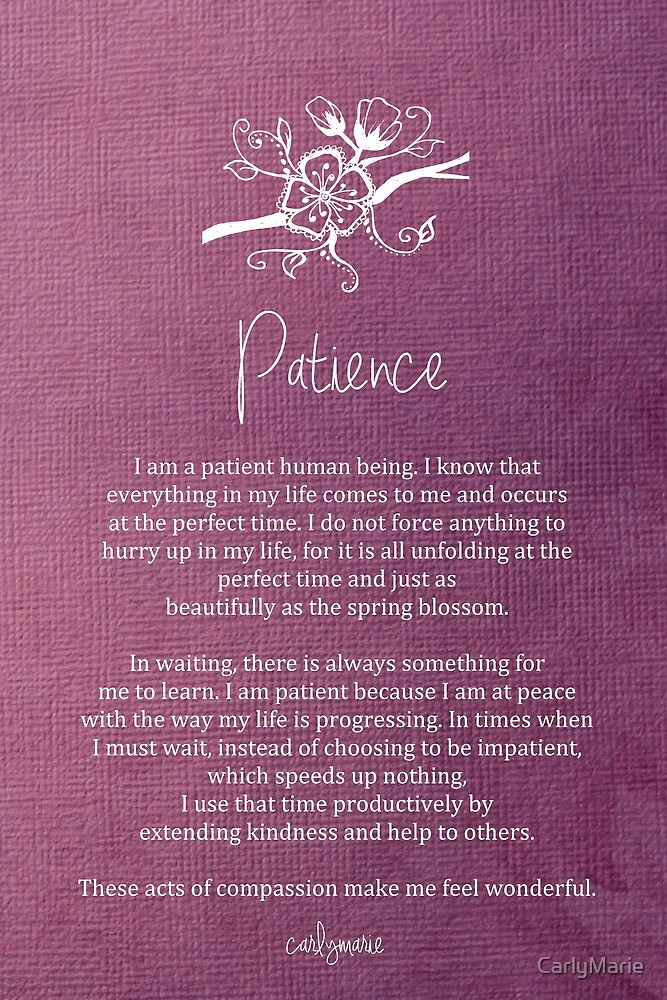 Quot Affirmation Patience Quot By Carlymarie Redbubble