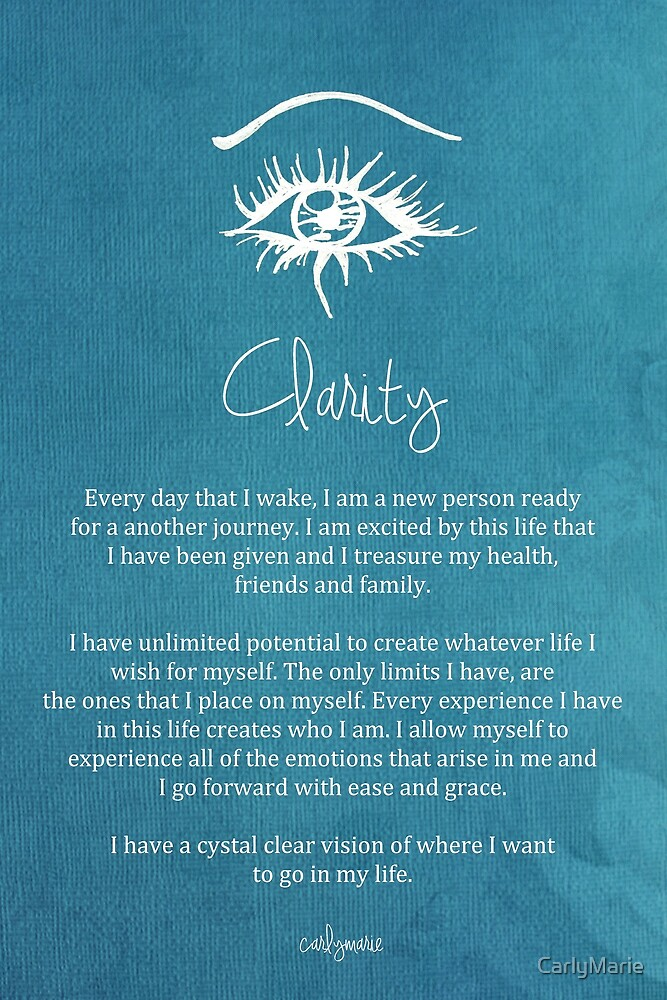 Quot Affirmation Clarity Quot By Carlymarie Redbubble