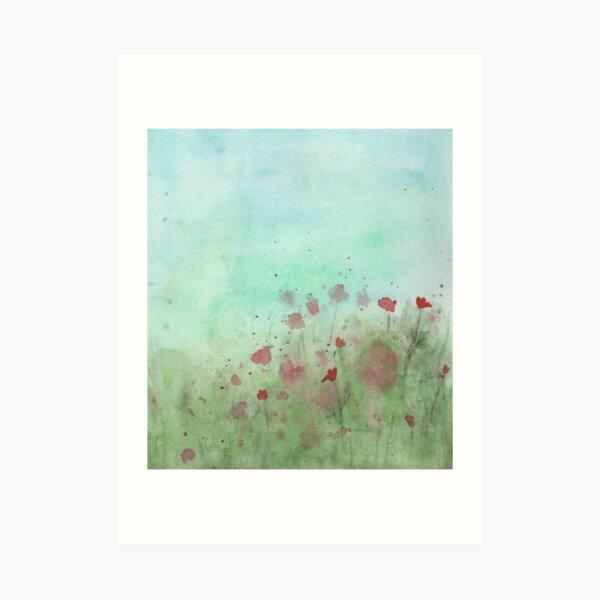 Watercolor Poppy Field Art Print