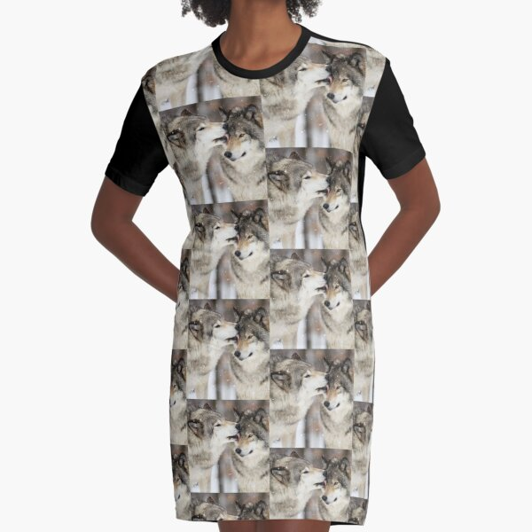 Wolf Kisses Graphic T-Shirt Dress